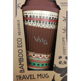 Cozy Time Bamboo Eco Ethnic ecological thermo mug + silicone cap brown, colored ornaments 450 ml
