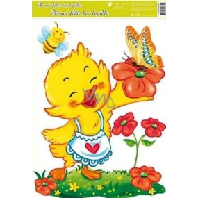 Room Decor Window foil without glue Easter chicken and orange butterfly 42 x 30 cm 1 piece