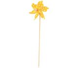 Pinwheel with large polka dots yellow 9 cm + skewers 1 piece