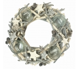 Advent white-gray wooden wreath from twigs 30 cm
