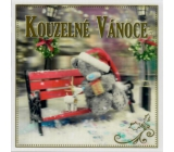 Me to You Envelope Greeting Card 3D Christmas Card, Christmas bear with a gift on a bench 15.5 x 15.5 cm
