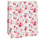 Ditipo Gift paper bag 26.4 x 13.6 x 32.7 c white, red roses QAB