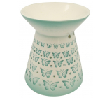Porcelain aroma lamp with green bow ties 13 cm