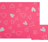 Nekupto Gift wrapping paper 70 x 150 cm Pink with white hearts