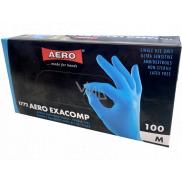 Aero Exacomp Hygienic disposable nitrile gloves anti-allergenic powder-free, size M, box 100 pieces blue