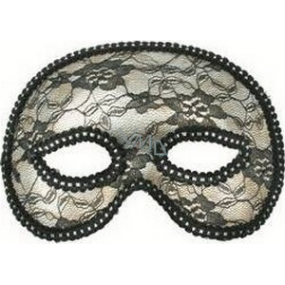 Silver ball mask with lace 19 cm suitable for adults