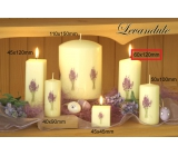 Lima Flower Lavender scented ivory candle with lavender decal cylinder 60 x 120 mm 1 piece