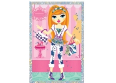 Scraping picture of a doll with 2 handbags 21.5 x 11 cm
